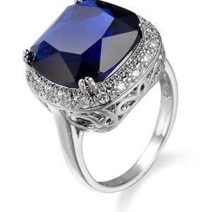 Jewelry - Stunning Sapphire and Sterling Silver Ring